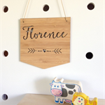 Personalised Wooden Bamboo Door / Wall hanging Flag Design