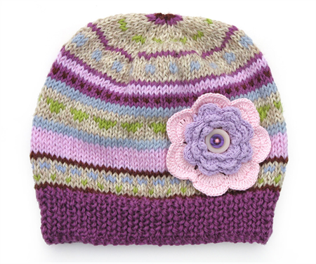 Girls Purple Lilac Pink Stripe Knitted Wool Beanie & Flower SIZE 6 7 8 9 10 11