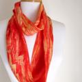 Red Silk Infinity Scarf Handpainted Silk Scarves