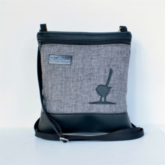 Small phone bag Black vinyl, light grey front with feature black bird.