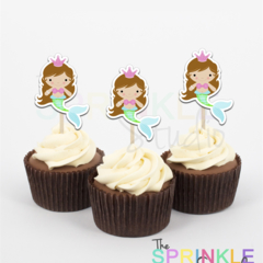 Cupcake Toppers ~ mermaid ~ set 12