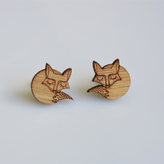 Sleeping Fox Wooden Earring Stud