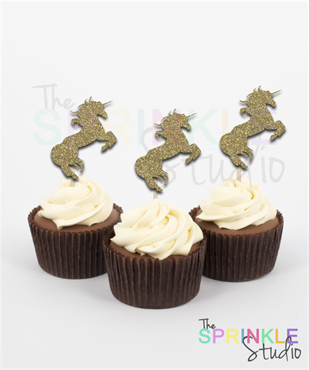 Unicorn Glitter Cupcake Toppers ~ set 12 ~