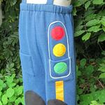 ~Grandpa Pants~ Blue Fleece Traffic Lights Red Yellow Green Applique Size 2 Boy