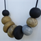 Polymer clay necklace, black, gold and silver necklace, handmade, FREE postage