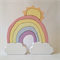 Handmade Wooden PASTEL Cloud Rainbow with SUN (9 Piece)
