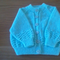 Green Baby Cardigan to fit size 3 to 6 months.
