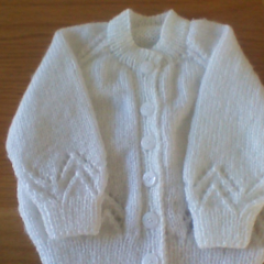 White Baby Cardigan to fit size 12 months.
