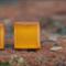 Glass tile stud earring (orange)