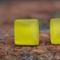 Glass tile stud earring (yellow)