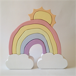 Handmade Wooden PASTEL Cloud Rainbow with SUN (9 Piece)