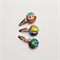 Three retro rainbow girl hairclips