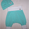 Aqua and white stripe baby pants and hat.
