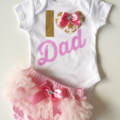 Fathers Day Baby Onesie I 'heart' Dad Glitter and Fabric Applique Onesie