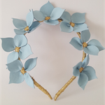 CELESTE Light Blue Headband, Leather Flower Headpiece, Wedding Fascinator