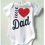 Fathers Day Gift Baby Boy I 'heart' Dad Onesie All sizes Available