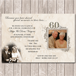Wedding Anniversary 60th 70th Photo Personalised Birthday Invitation - YOU PRINT