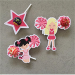 Cheerleader Pen/Lipgloss/ Lollipop Party Favour Cutouts- 10pk