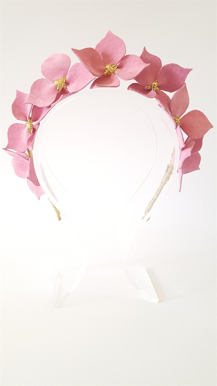 Pink Headband Leather Flower Headpiece Wedding Fascinator