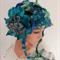 Beanie Ear flap hat Hand Spun Hand Knit Art Yarn green lime teal dark blue