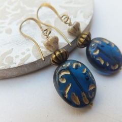 Blue Oval Decorative Czech Glass and Nickel Free Earrings