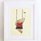Childrens wall art - Baby bear on swing, Nursery art print, kids art print