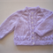 Size 6-9 mths, Lilac long sleeve hand knitted cardigan