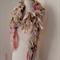 recycled silk skinny scarf ivory off white cream boho chic  tattered scarf