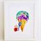Childrens wall art - Mouse vs icecream, Nursery art print, kids art print