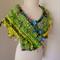 scarf collar yellow green chunky bulky hand spun art yarn hand knit
