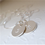 Hand Stamped Initial Disk Necklace (Double Tag) - Sterling Silver