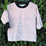 Pink Velour Hepburn TOP Fully lined in 100% COTTON long slvs Girl 6-12 months