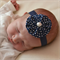 Newborn Headband - navy blue fabric yoyo