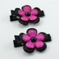 Pink & Black Flower Hair Clip Pair