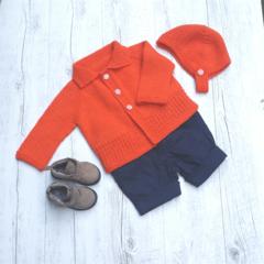 Little Cardigan & Helmet - Hand Knitted - Size 0 - 100% Australian Wool