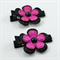 Pink & Black Flower Hair Clip Pair