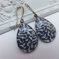 Navy Blue and White Print 18 x 25mm Resin Earrings hung from tall french nickel