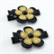 Gold & Black Flower Hair Clip Pair