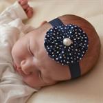 Newborn Headband - navy blue fabric yoyo