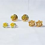 Aurea Earring Set Ear Studs Vintage Cabochon Flower Floral Jewellery Earrings