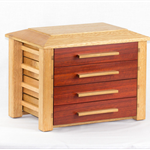 Wooden Jewellery Box with exotic red Bloodwood drawer fronts.