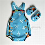 ~Aeroplane SUNSUIT Playsuit and SHOES bright blue white orange buttons NB-3m Boy