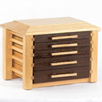 Wooden Jewellery Box with five drawers, made from solid meranti and wenge.
