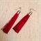 Red leather tassel earrings