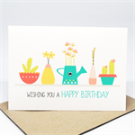 Birthday Card Female - Pot Plants and Succulents - HBF158