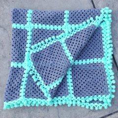 Mint and Grey squares crochet Blanket with pom pom edge