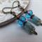 Blue Czech Tulip and Nickel Free Antique Bronze Earring Hooks