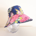 Girls summer hat in gorgeous floral on navy fabric