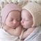 Twin Bonnets / Newborn Baby Hats / Twin Set / Pink and Cream