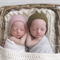 Twin Bonnets / Newborn Baby Hats / Twin Set / Pink and Olive Green